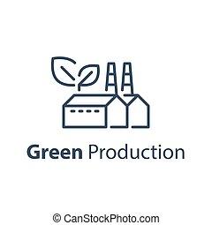 termelés, derék, újrafelhasználás, eco, kitakarít, gyár, barátságos, berendezés, zöld, energia, fogalom