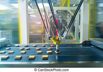 termelés, iparág, élelmiszer, kézbesítő, robot, süti, előállít, gyár, űr, balfaszok