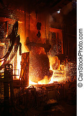 termelés, metallurgical, berendezés, steel., plant.