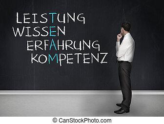 termes, reussite, écrit, allemand, élégant, regarder, homme affaires