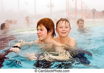 termico, nuoto, fratelli, stagno, inverno
