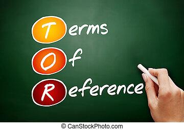 termijnen, referentie, tor, -, hand, getrokken