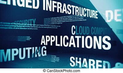 termijnen, wolk, verwant, gegevensverwerking
