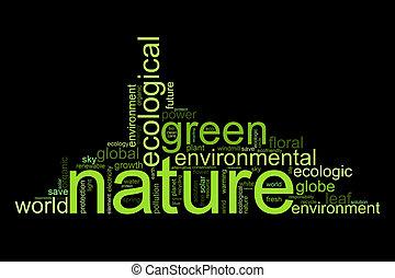 termijnen, zoals, natur, illustratie, milieu, of