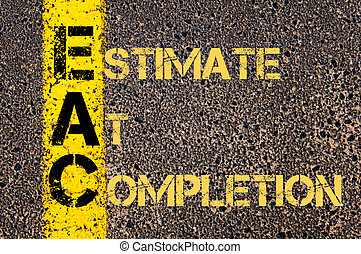 terminación, siglas, eac, estimación, empresa / negocio