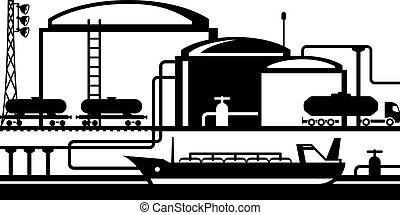 terminal, óleo, tanques