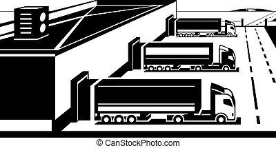terminal, ładunek, ciężarówki
