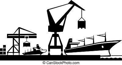 terminal, ładunek, port