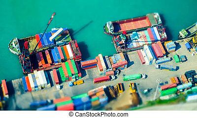 terminal., シフトしなさい, 船, 容器, 港, kong., hong, 貨物, 傾き
