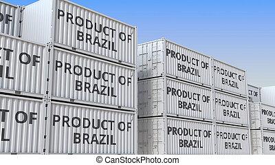 terminal, 3, tekst, brasilien, gengivelse, beholdere, produkt, beholder