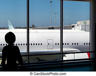 terminal, aéroport, enfant, avion, regarder