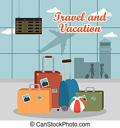 terminal, aéroport, voyage, scène