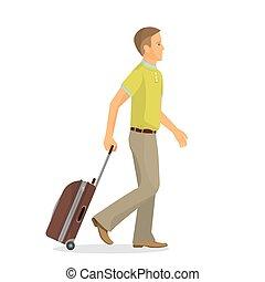 terminal, aeroporto, ir, homem, mala