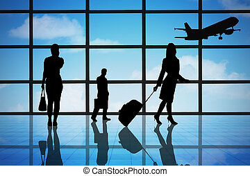 terminal, aeroporto, pessoas negócio