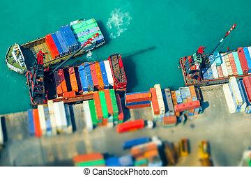 terminal., arbejdsholdet, skibe, beholdere, havn, kong., hong, last, vippe