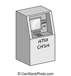 Terminal, ATM for receiving cash. Terminals single icon in monochrome style isometric vector symbol stock illustration web.