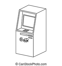Terminal, ATM for receiving cash. Terminals single icon in outline style isometric vector symbol stock illustration web.