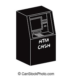 Terminal, ATM for receiving cash. Terminals single icon in black style isometric vector symbol stock illustration web.