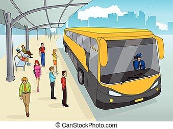 terminal autobús, en, caricatura