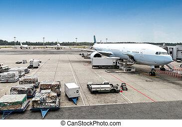 terminal, avion, maniement, aéroport, terrestre