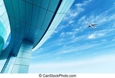 terminal, avion passager