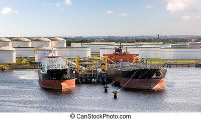 terminal, bateau, pétrolier, port