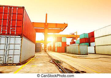 terminal, behälter, dämmerung
