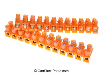 Terminal blocks for electric cables on white background