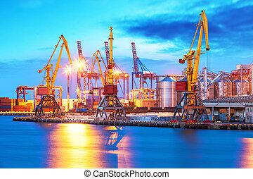 terminal, carga, puerto, mar