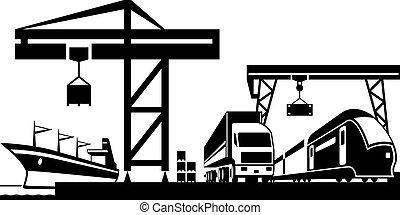 terminal, cargaison, scène