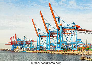 terminal, carregando, navios, porto,  offloading