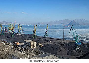 terminal, charbon, chargement, port