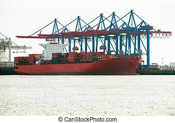 terminal, chargement, bateaux, port, offloading