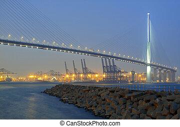 terminal contenedor, puente, stonecutter, hong kong