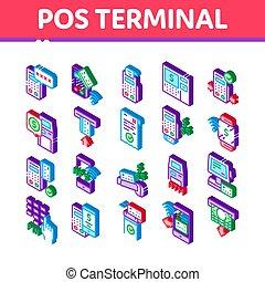 terminal, dispositivo, vector, pos, iconos, isométrico, ...