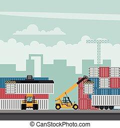 terminal, export., récipient, camions, fonctionnement, conception, port