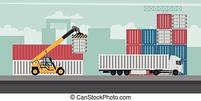 terminal, export., récipient, fond, camions, fonctionnement, conception, port