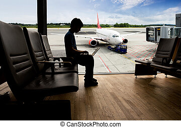 terminal, flughafen, edv