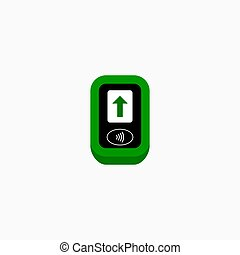 Terminal for passenger transport card. Turnstile device in the lobby of an office building. Public payment system icon. Vector