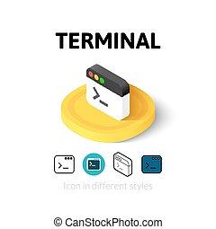 terminal, ikona, w, różny, styl