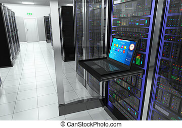 Creative business web telecommunication, internet technology connection, cloud computing and networking connectivity concept: terminal monitor screen display in server room with server racks in datacenter interior
