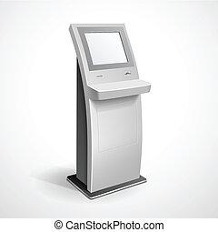 terminal, información, monitor, estante, exhibición