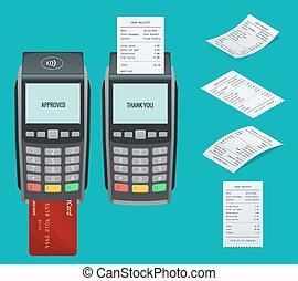terminal, isometric, pojęcie, nfc, card., karta, concept., pos, płaski, wpłaty, maszyna, kredyt, wektor, ilustracja, debet, invoce., umacnia, wpłata, design.