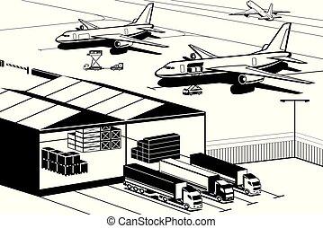 terminal, ladung, flughafen