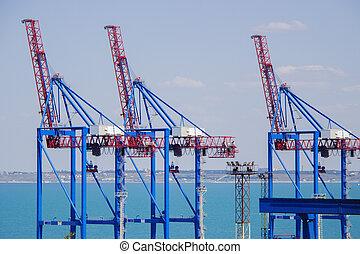 terminal, last, industriel, off, offloading, kraner, elevatoren, rummer, skibe, havn, store, lastning, deserter, fragt, goods, rækker, havn, dæk