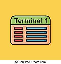 terminal, lotnisko, ikona