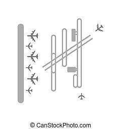 terminal, lotnisko, ilustracja