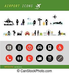 terminal, lotnisko, komplet, ikona