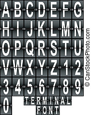 terminal, luchthaven, lettertype, set, display