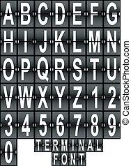 terminal, lufthavn, font, sæt, fremvisning
